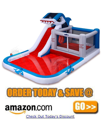 Blast Zone Shark Park Inflatable Water Park Bouncer a