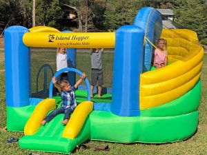 Island Hopper Curved Double Slide Recreational Kids Bounce House